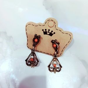 Coral and Bronze Filigree Earrings